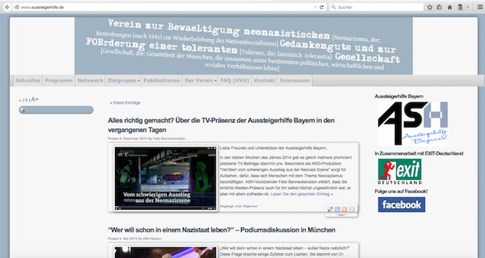 Nostalgie: Screenshot der alten Homepage, mit altem Vereinslogo (rechts)